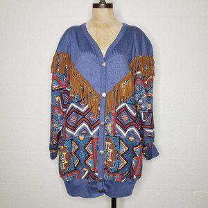 Vintage Young Stuff Leather Fringe Aztec Jacket 1X
